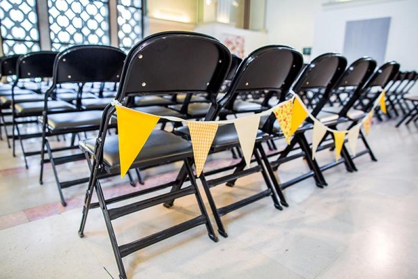 Southampton-art-gallery-wedding-chairs-bunting, nick rutter photo