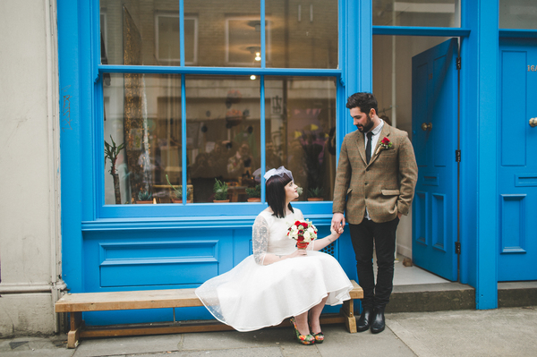 frances-sales-photography, brick-lane-styled-wedding-shoot, bride and groom, cafe with blue doors