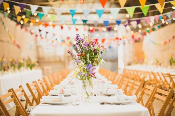 village hall, bunting, colourful flowers in vase, tobiah tayo photography