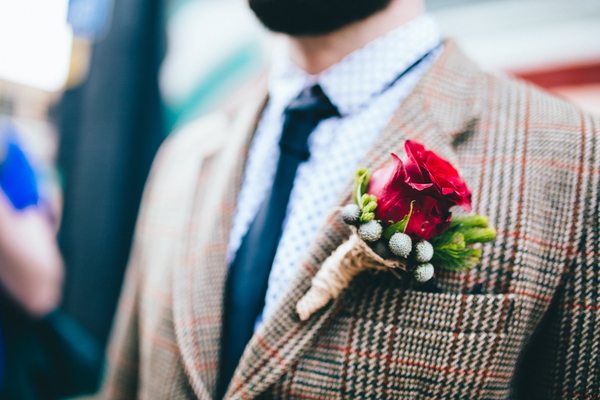 wedding-photography-to-love-by-rebecca-tovey, brick-lane-styled-wedding-shoot, alternative wedding, groom in tweet suit, red rose buttonhole