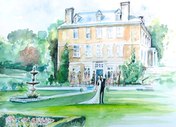 Buckland Tout Saints Hotel Watercolour, bridal portraits, live wedding paintings, watercolour wedding portraits, wedding paintings, live wedding painter, uk wedding blog, charlotte atkinson