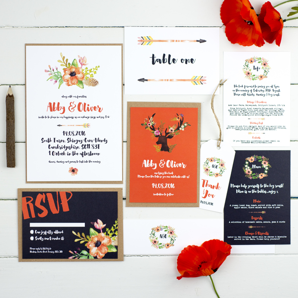 russet & gray, wedding stationery, wedding invitations, sarah fawkes, paper goods, greetings cards, Prints
