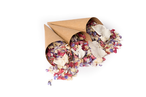 Shropshire Petals, Confetti Cones, brown_craft_confetti_cones_with_kaleidoscope_and_daisy_daisy