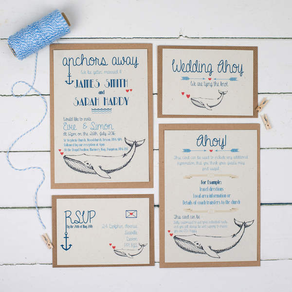 whale_of_a_time_collection, talk of the town parties, wedding stationery, eco friendly wedding stationery, recycled wedding stationery