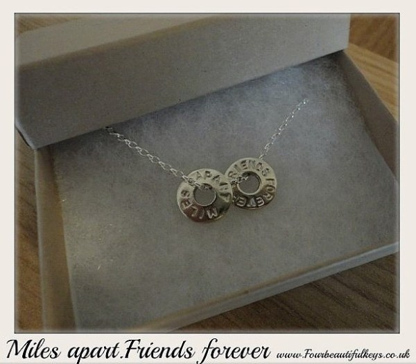Miles Apart- friends forever necklace, four beautiful keys, silver jewellery