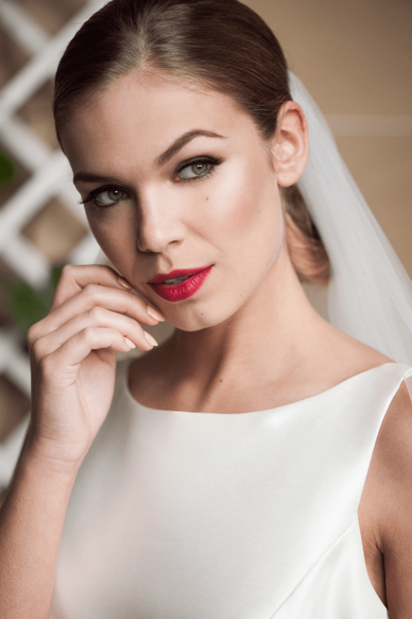 Susan-Hopkins- Wedding-Design-and-Event-Management-Weddings-by-Garazi-Photography-Stately-Home-Wedding-Downton-Abbey-Styled-shoot-Weston-Park-bride-and-veil-red-lips