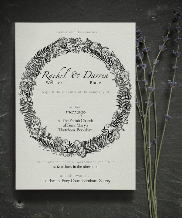holly_rees_london, floral_wreath_invite, wedding stationery