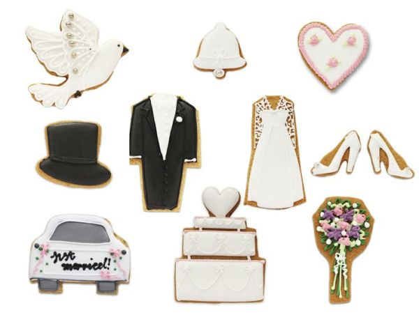 Biscuiteers, wedding-biscuit, hand iced biscuits , wedding collection, Wedding Bells collection