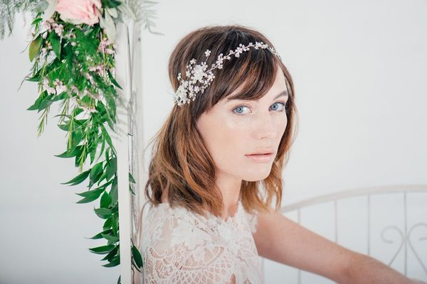 Charlie clustered pearl blossoms hair vine by Lily Bella - £100