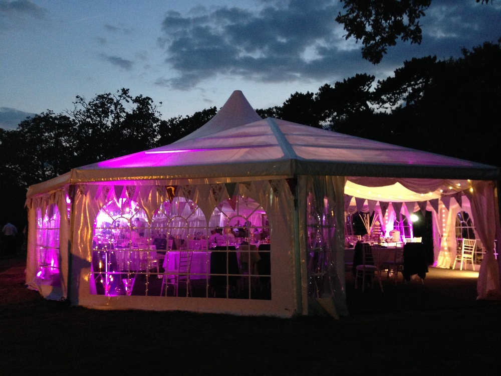 Marquee at night, tournerbury woods estate