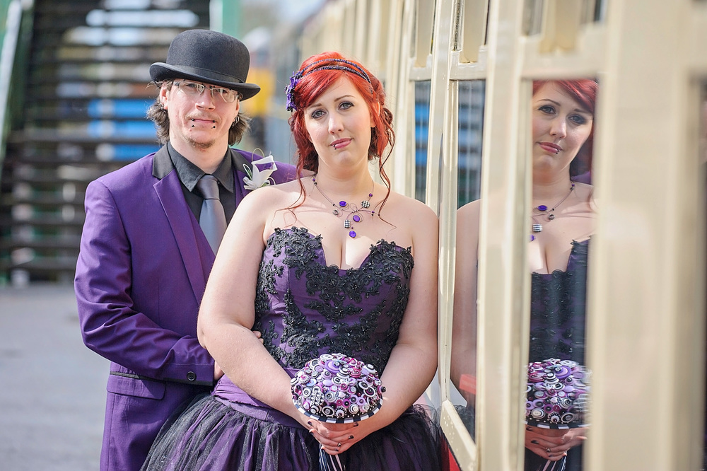 pengelly-photography-tim-burton-film-theme-wedding-purple-wedding-dress-essex-wedding-7jpg