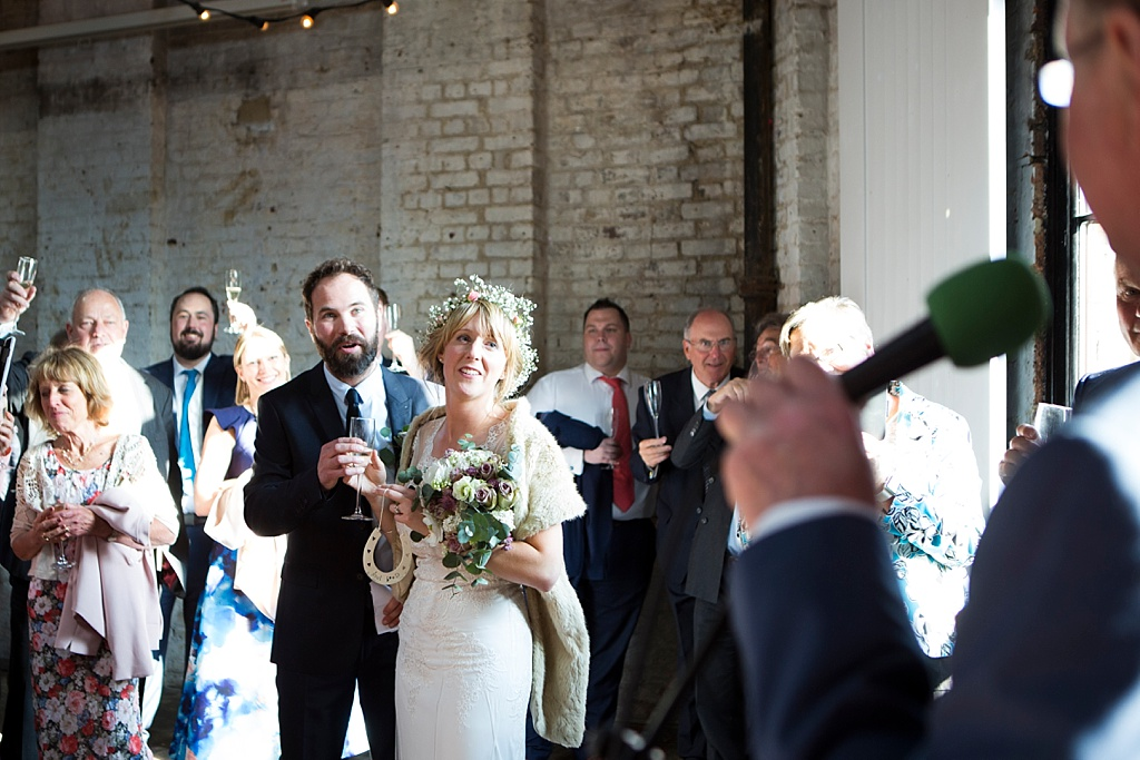 warehouse wedding, Urban wedding at Brixton East 1871, London