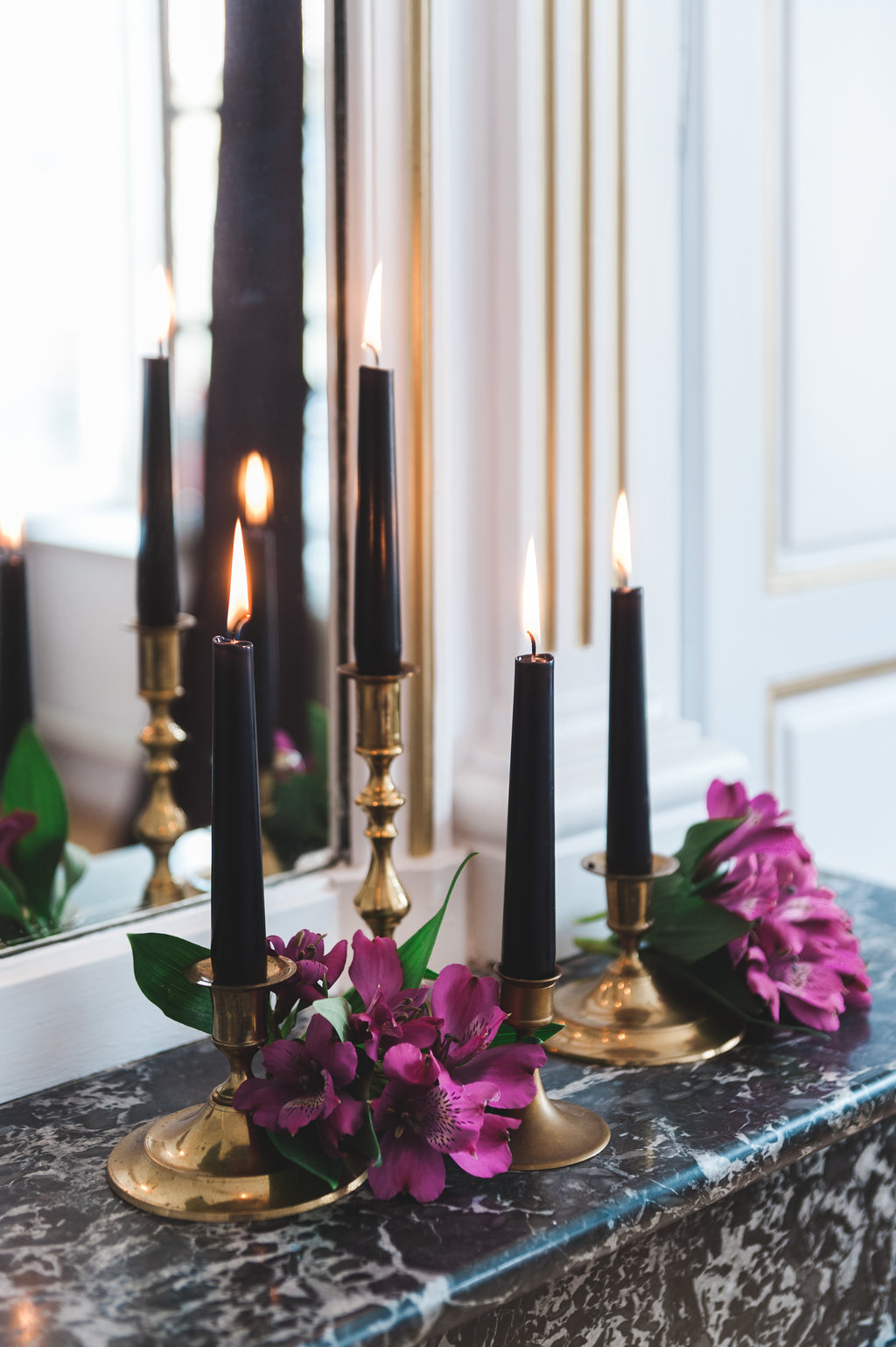 Dark Fairytale inspired Wedding - Wit Photography - black candles, gold candlestick