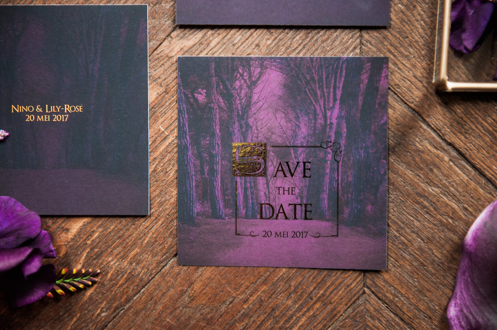 Dark Fairytale inspired Wedding - Wit Photography - wedding stationery - save the date - Silver lining
