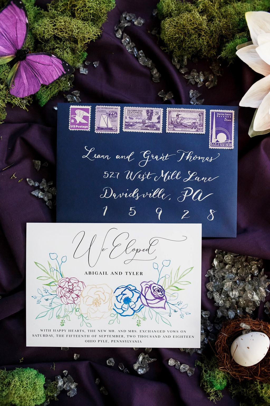 woodland inspired elopement - purple stationery - Angie Candell Photography