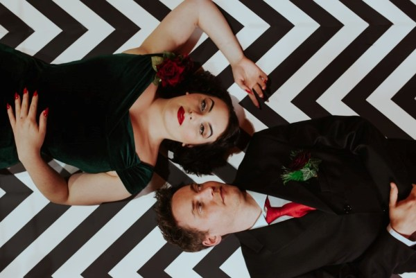 A dramatic and surreal Twin Peaks Wedding Styled shoot with vibrant jewel colour and woodsy styling
