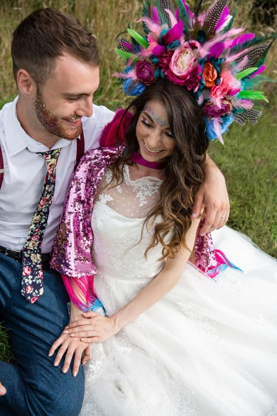 A vibrant and colourful Festival themed wedding shoot at Higher Holcombe
