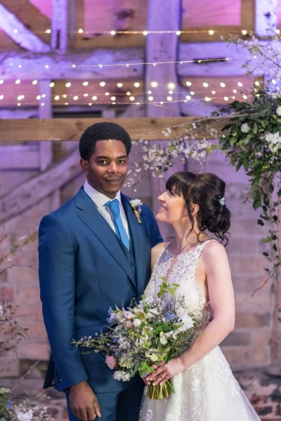 Romantic rustic Wedding Inspiration at Brooke End Green Farm with pretty blue elements