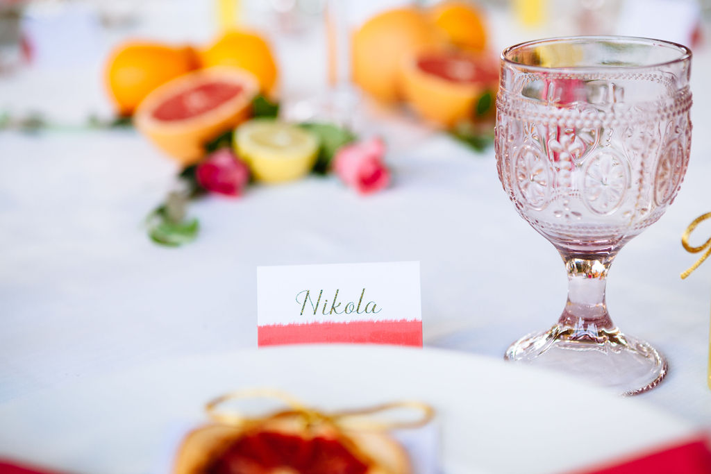 Elizabeth Armitage Photography - colourful wedding tablescape - place card