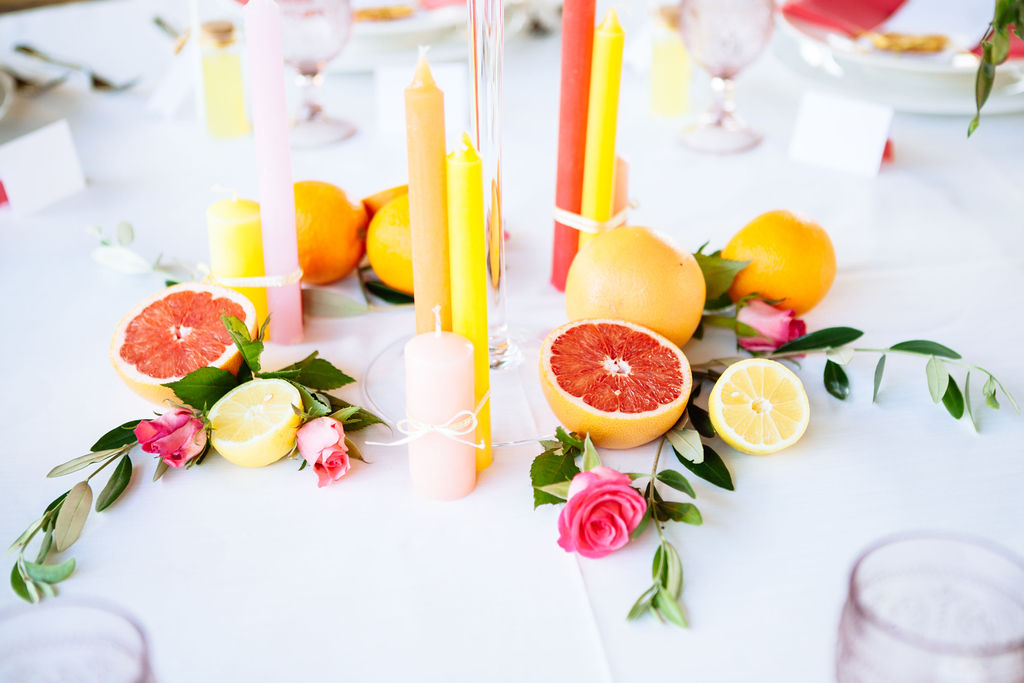 Elizabeth Armitage Photography - colourful wedding tablescape - place card - colourful table candles