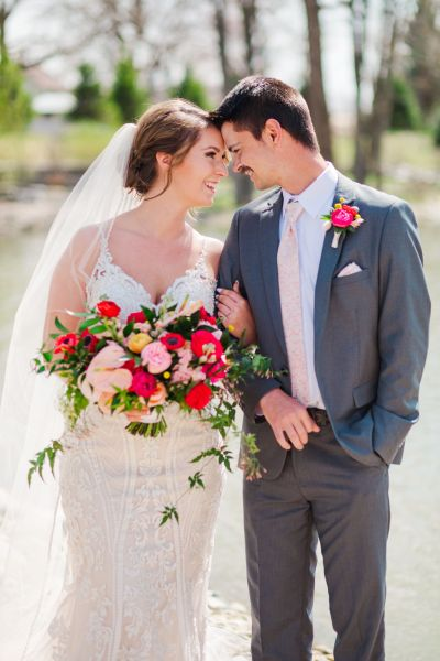 Vibrant Spring wedding inspiration with pops of bright red, pink, and yellow detail