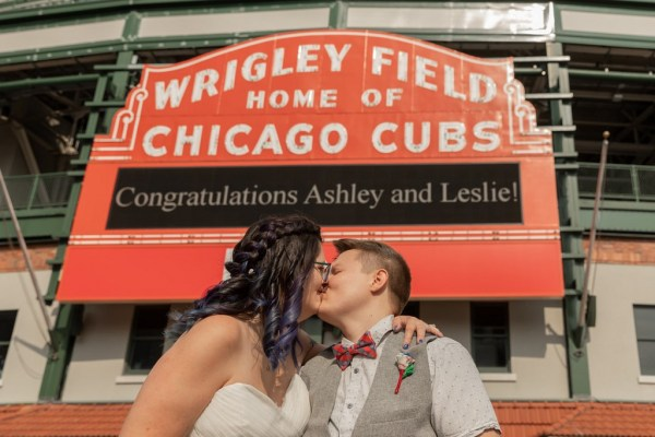 A spectacular Chicago Cubs baseball inspired elopement with pretty red, white and blue details