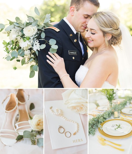 A romantic Michigan backyard Wedding with pretty cream and gold details and botanical touches