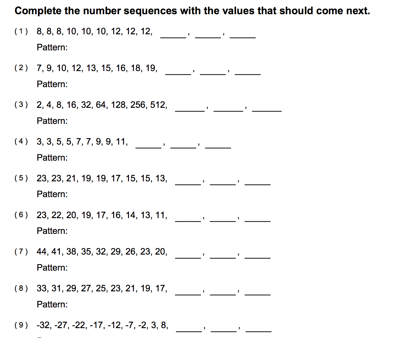 Number Sequences Worksheet Year 1