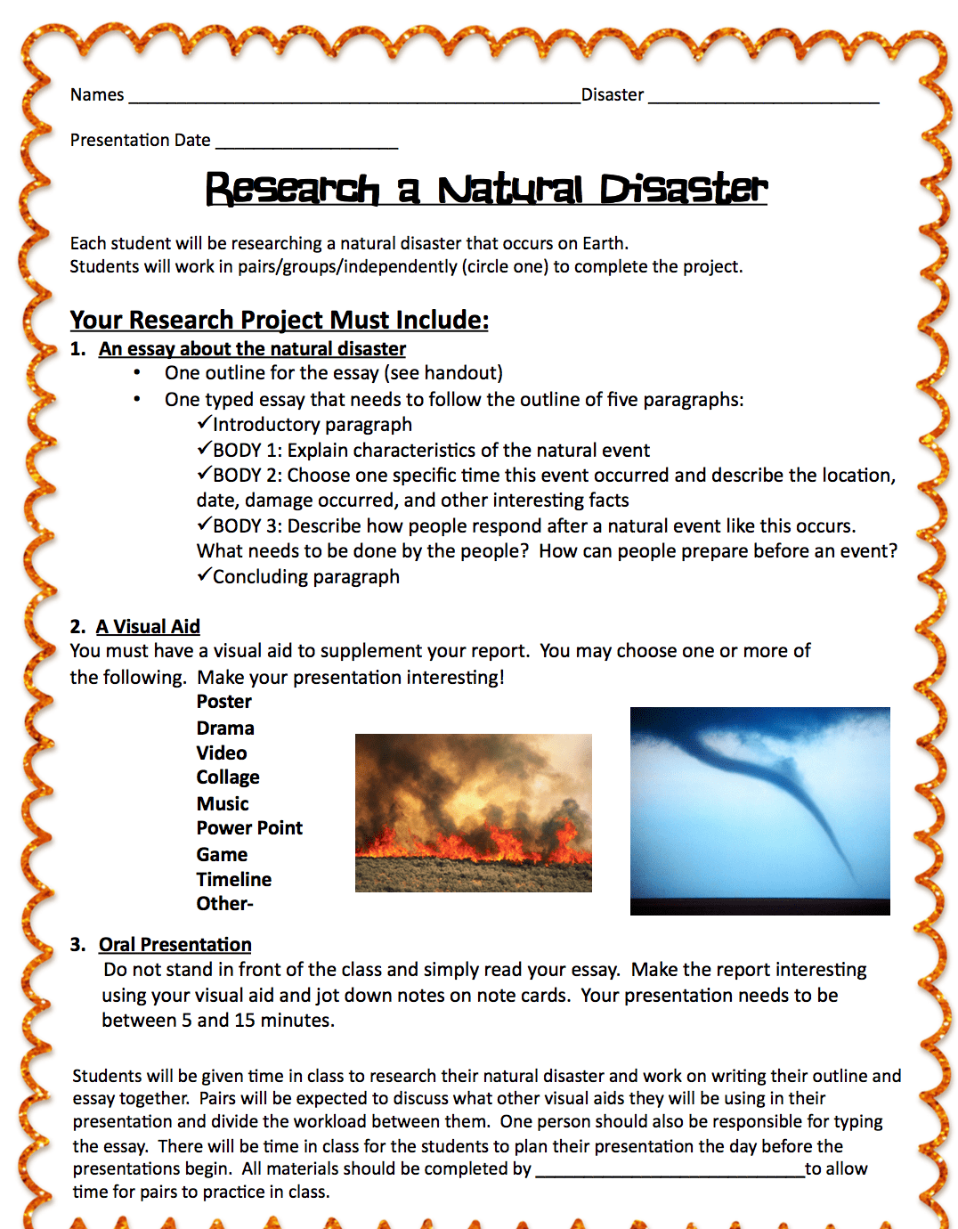 Natural Disasters Project Mrs Russell's Classroom