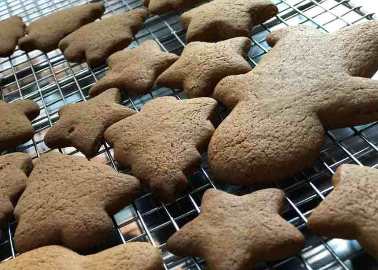 Gingerbread biscuits cooling
