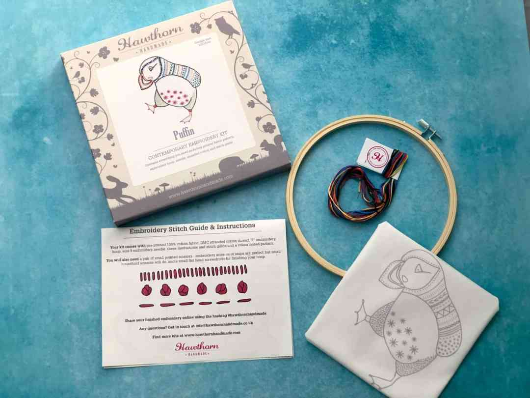 Contemporary Embroidery Kit Puffin