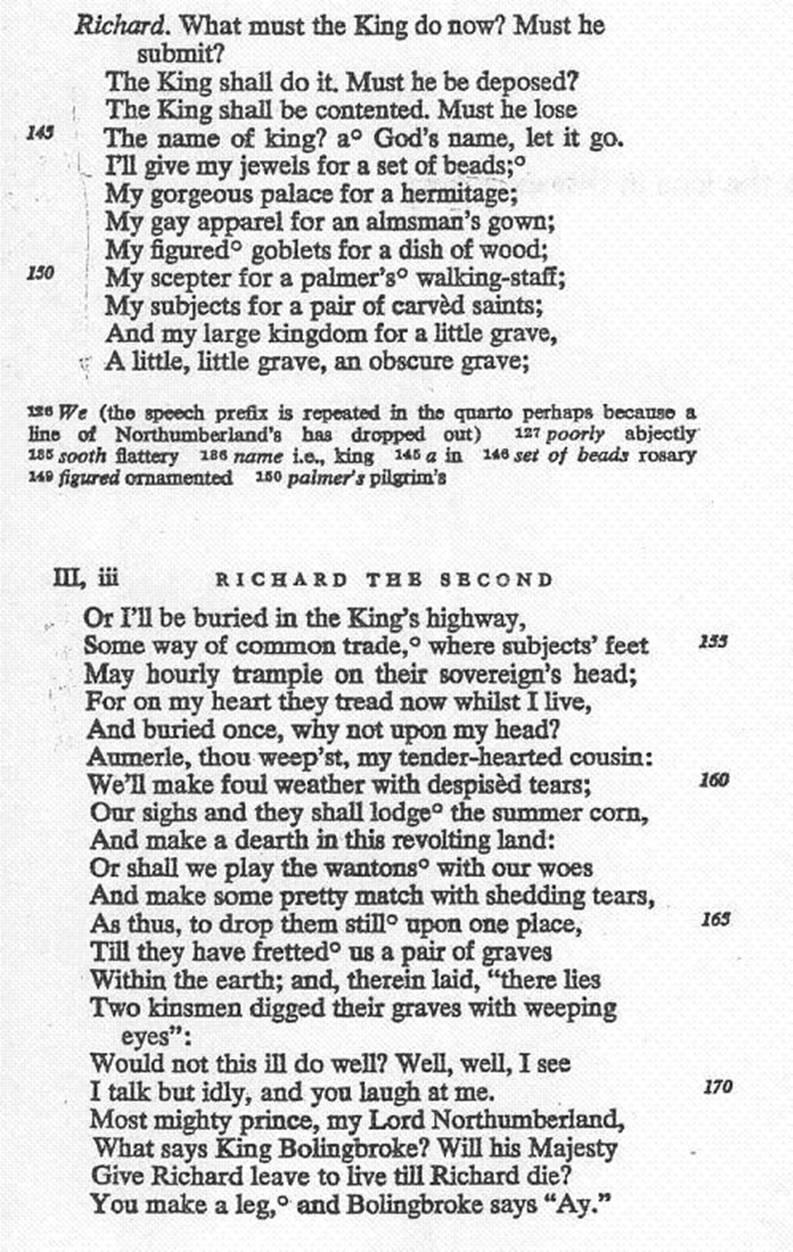 READING COMPREHENSION QUESTIONS (Richard II, III, ii, 142-174)