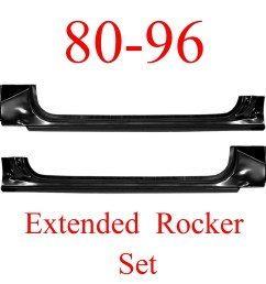 80 96 ford extended rocker panel set truck bronco [ 2796 x 2775 Pixel ]