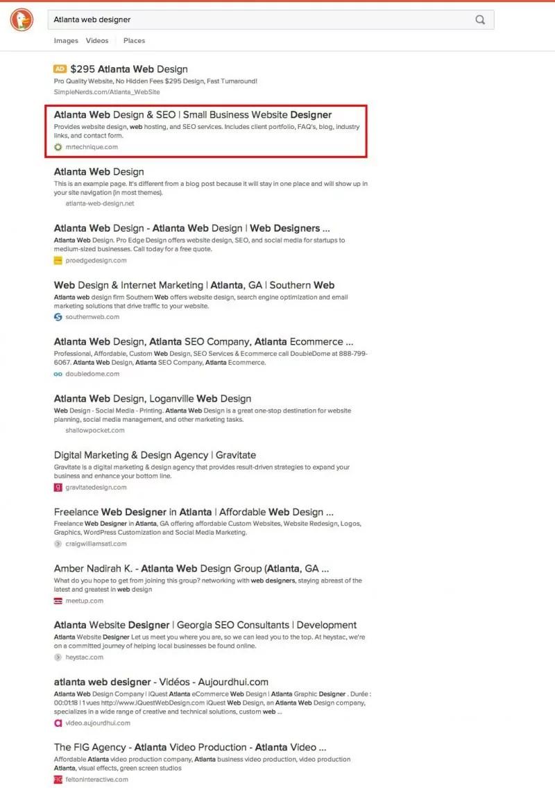 DuckDuckGo Atlanta web designer search results screenshot