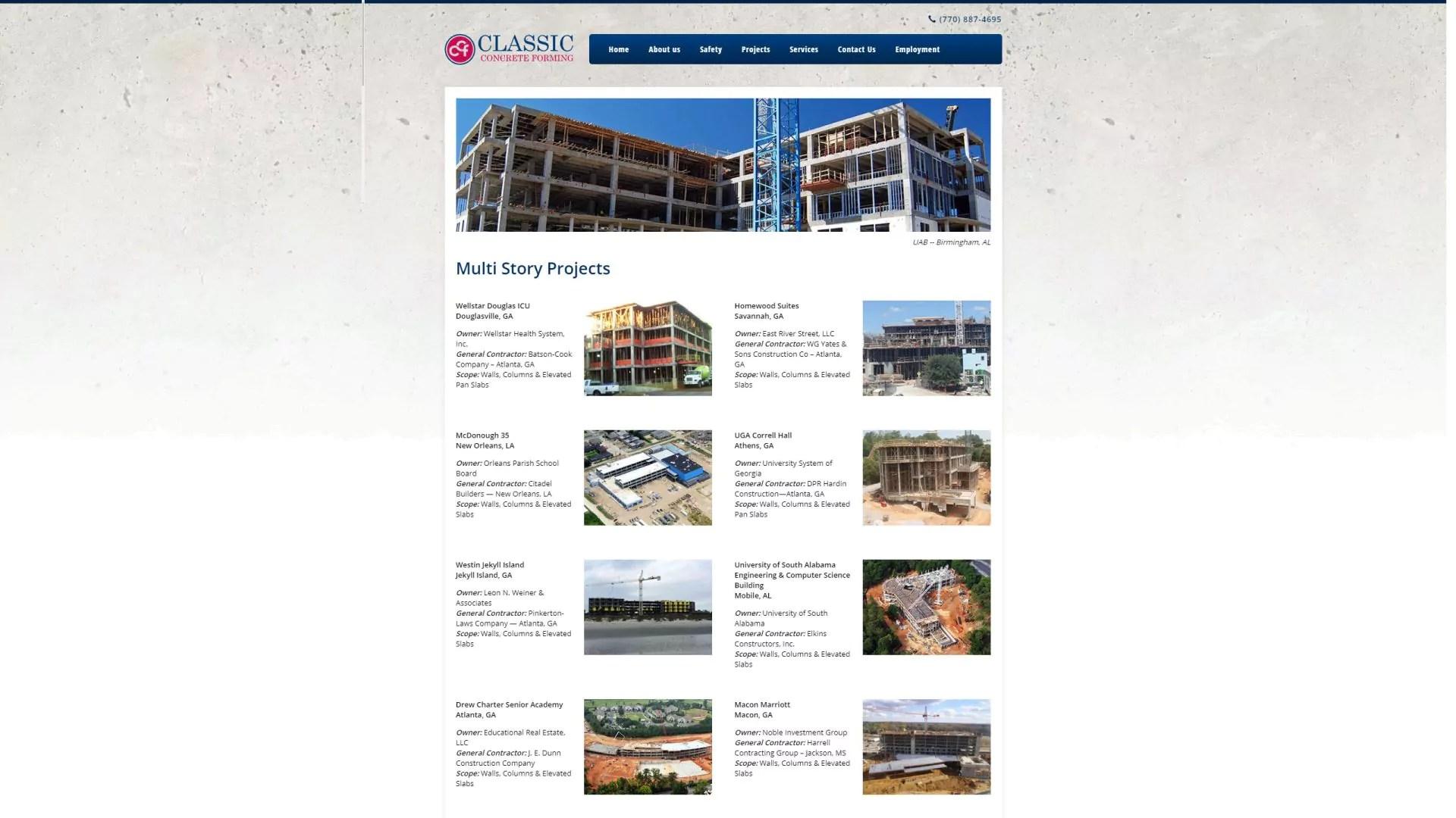 Classic Concrete Forming (Cumming) Desktop Web Design
