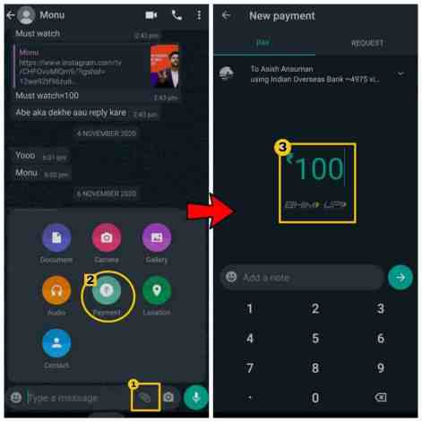 How to send money using whatsapp payment feature