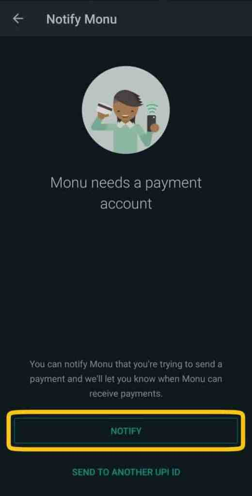 How to activate whatsapp payment by sending payment notification