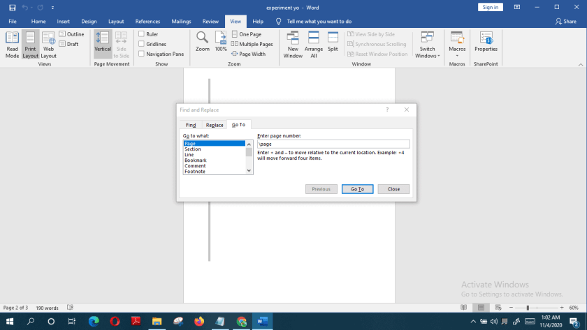 delete a blank page in  Word
