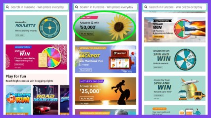 Amazon quiz answers and spin games