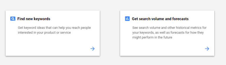 Keyword Planner Home page