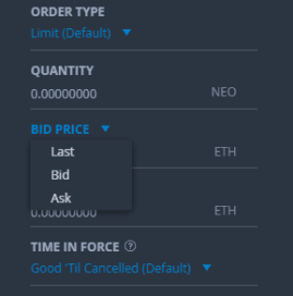 Buy Bid in Bittrex
