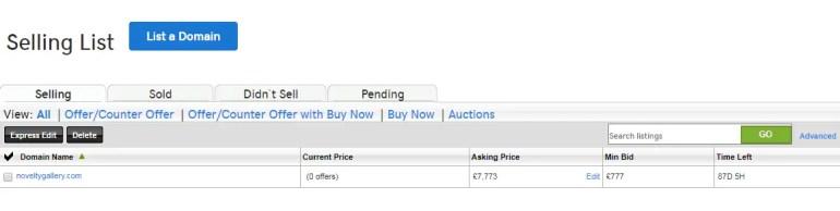GoDaddy Auction Listed domain