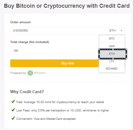 Buy Eth using Credit CARD