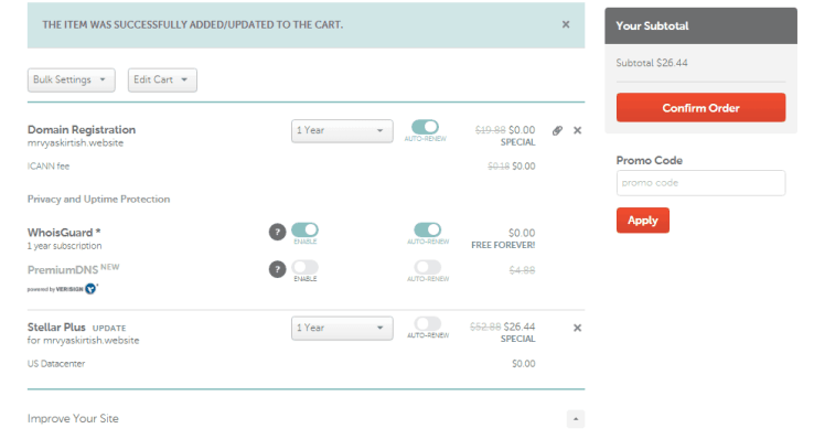 Hosting Purchase Dashboard with NnameCheap