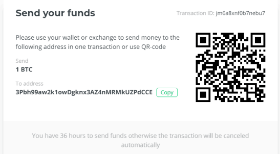 Send Crypto to defined address