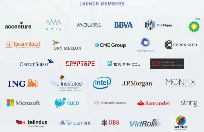 Ethereum blockchain network partnered companies