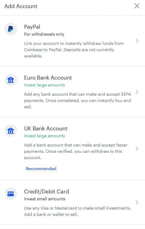 CoinBase Deposit or Withdrawal options