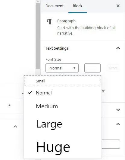 Font Size in wordpress Editor