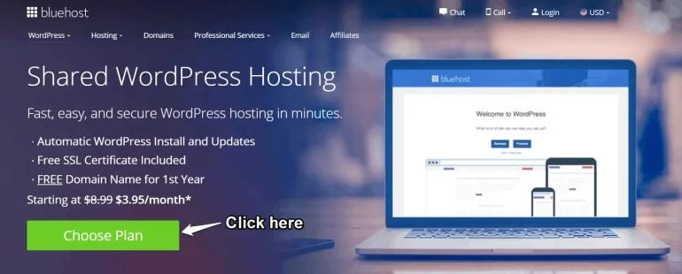 Bluehost shared wordpress hosting plans