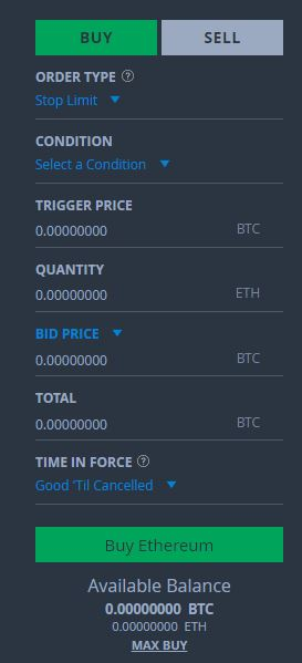 Stop Limit Buy Order Bittrex